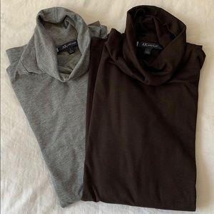 Ann Klein cotton turtleneck long sleeve tops L
